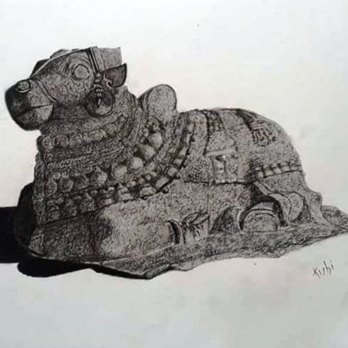 sculpture  basava, 12 x 17 inch, kishore r s,12x17inch,handmade paper,drawings,realism drawings,paintings for living room,charcoal,GAL0958126659