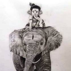 gaja on gajamuka, 12 x 17 inch, kishore r s,12x17inch,handmade paper,drawings,figurative drawings,ganesha drawings,paintings for living room,charcoal,mixed media,pencil color,GAL0958126660