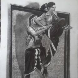 dance, 12 x 17 inch, kishore r s,12x17inch,handmade paper,drawings,folk drawings,paintings for dining room,paintings for living room,paintings for bedroom,paintings for office,charcoal,GAL0958126663