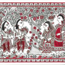 ram sita - the first sight, 10 x 14 inch, deepa singh,10x14inch,handmade paper,paintings,folk art paintings,madhubani paintings | madhubani art,paintings for dining room,paintings for living room,paintings for bedroom,paintings for hotel,paintings for dining room,paintings for living room,paintings for bedroom,paintings for hotel,pen color,photo ink,GAL01060126666