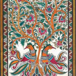 peacocks and the tree of life, 11 x 15 inch, deepa singh,11x15inch,handmade paper,paintings,folk art paintings,kalamkari painting,paintings for dining room,paintings for living room,paintings for bedroom,paintings for office,paintings for hotel,paintings for dining room,paintings for living room,paintings for bedroom,paintings for office,paintings for hotel,pen color,photo ink,GAL01060126667
