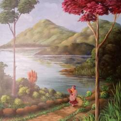 kudrat, 26 x 20 inch, babulal patel,paintings for dining room,landscape paintings,nature paintings,hardboard,acrylic color,26x20inch,GAL03602667Nature,environment,Beauty,scenery,greenery,trees,water,beautiful,leaves