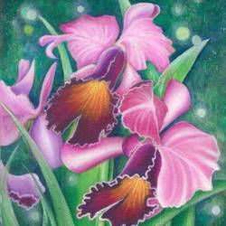 serene orchids, 12 x 17 inch, deepa singh,12x17inch,handmade paper,paintings,flower paintings,nature paintings | scenery paintings,paintings for dining room,paintings for living room,paintings for bedroom,paintings for office,paintings for kids room,paintings for hotel,acrylic color,GAL01060126676