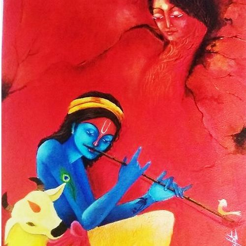 relation, 20 x 24 inch, arpita biswas dasgupta,20x24inch,ivory sheet,paintings,love paintings,paintings for dining room,paintings for living room,paintings for bedroom,paintings for office,paintings for kids room,paintings for hotel,acrylic color,GAL01013626677,krishna,Lord krishna,krushna,radha krushna,flute,peacock feather,melody,peace,religious,god,love,romance