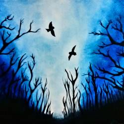blue night, 20 x 25 inch, shabnam hasan,wildlife paintings,paintings for living room,canvas,oil,20x25inch,GAL03022668