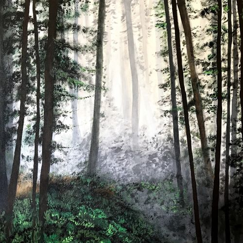 into the woods, 24 x 24 inch, shailen sharma,24x24inch,canvas,paintings,nature paintings | scenery paintings,photorealism paintings,photorealism,realism paintings,paintings for dining room,paintings for living room,paintings for bedroom,paintings for office,paintings for bathroom,paintings for kids room,paintings for hotel,paintings for kitchen,paintings for school,paintings for hospital,acrylic color,GAL01586926682