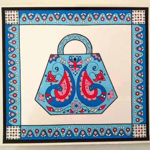 purse with symmetrical design, 12 x 12 inch, geeta kwatra,12x12inch,drawing paper,paintings,abstract paintings,art deco paintings,paintings for living room,paintings for hotel,mixed media,GAL0899126690