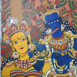 mann mohana- radha krishna, 14 x 20 inch, natasha vinod,14x20inch,canvas,paintings for living room,islamic calligraphy drawing,paintings for living room,acrylic color,GAL01551726693