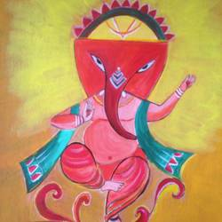 lord ganesha, 12 x 16 inch, promila singh,12x16inch,thick paper,paintings,ganesha paintings | lord ganesh paintings,paintings for living room,acrylic color,GAL0823226695