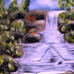waterfall , 15 x 22 inch, aparna warade,landscape paintings,paintings for living room,canvas,oil paint,15x22inch,GAL089267