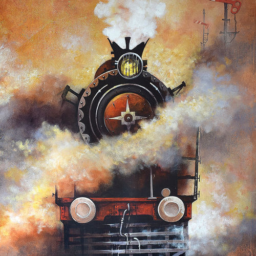 nostalgia of indian steam locomotives  02, 30 x 36 inch, kishore pratim biswas,paintings for living room,cityscape paintings,paintings,landscape paintings,contemporary paintings,paintings for dining room,paintings for office,paintings for hotel,paintings for school,canvas,acrylic color,30x36inch,GAL010602670