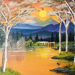 serene sunset in mountains, 17 x 14 inch, nidhi choudhari,17x14inch,cloth,paintings,nature paintings | scenery paintings,surrealism paintings,paintings for dining room,paintings for living room,paintings for bedroom,paintings for office,paintings for hotel,paintings for hospital,acrylic color,GAL01583526705