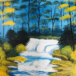 lake flowing through a forest, 20 x 16 inch, nidhi choudhari,20x16inch,canvas board,paintings,nature paintings | scenery paintings,surrealism paintings,paintings for dining room,paintings for living room,paintings for bedroom,paintings for office,paintings for hotel,paintings for hospital,acrylic color,GAL01583526706