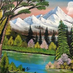 mountain lake, 20 x 16 inch, nidhi choudhari,20x16inch,canvas board,paintings,nature paintings | scenery paintings,surrealism paintings,paintings for living room,paintings for bedroom,paintings for office,paintings for hotel,paintings for school,paintings for hospital,acrylic color,GAL01583526709