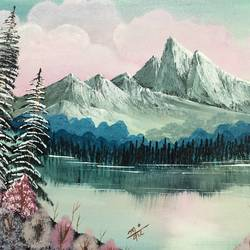 surreal mountain lake, 25 x 14 inch, nidhi choudhari,25x14inch,canvas board,paintings,nature paintings | scenery paintings,surrealism paintings,paintings for living room,paintings for bedroom,paintings for office,paintings for hotel,paintings for hospital,acrylic color,GAL01583526710