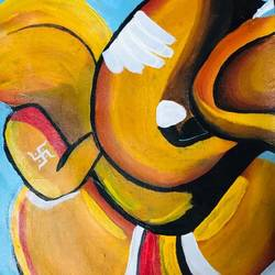 ganesha, 12 x 19 inch, nidhi choudhari,12x19inch,canvas,paintings,abstract paintings,religious paintings,ganesha paintings | lord ganesh paintings,paintings for living room,paintings for bedroom,paintings for office,paintings for hotel,paintings for hospital,acrylic color,GAL01583526712