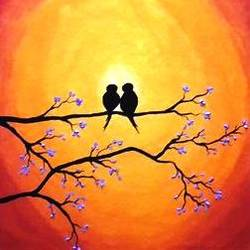 love birds, 10 x 12 inch, nidhi choudhari,10x12inch,canvas,paintings,abstract paintings,nature paintings | scenery paintings,paintings for living room,paintings for bedroom,paintings for office,paintings for hotel,paintings for hospital,acrylic color,GAL01583526714