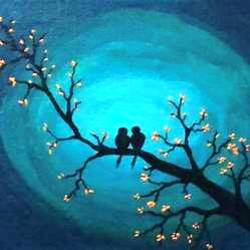 love birds , 12 x 10 inch, nidhi choudhari,12x10inch,canvas board,paintings,abstract paintings,landscape paintings,nature paintings | scenery paintings,paintings for living room,paintings for bedroom,paintings for office,paintings for hotel,paintings for hospital,acrylic color,GAL01583526716