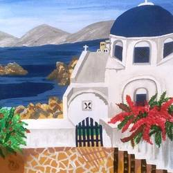 beautiful santorini island view, 12 x 16 inch, analiz  menezes,12x16inch,canvas,paintings,landscape paintings,paintings for living room,paintings for bedroom,paintings for office,paintings for hotel,paintings for school,paintings for hospital,acrylic color,GAL01598026728