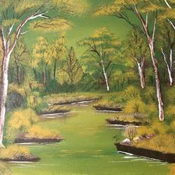 lake in the forest, 20 x 18 inch, nidhi choudhari,20x18inch,canvas,paintings,landscape paintings,nature paintings | scenery paintings,paintings for hotel,acrylic color,GAL01583526737