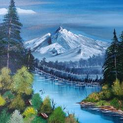 mountain lake, 20 x 16 inch, nidhi choudhari,20x16inch,canvas,paintings,landscape paintings,nature paintings | scenery paintings,paintings for living room,paintings for bedroom,paintings for hotel,acrylic color,GAL01583526738