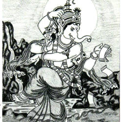 ganpati -the cosmic dancer, 12 x 17 inch, sandeep handa,illustration drawings,paintings for living room,ganesha paintings,paper,mixed media,12x17inch,GAL010592674,vinayak,ekadanta,ganpati,lambodar,peace,devotion,religious,lord ganesha,lordganpati,ganpati,ganesha,lord ganesh,elephant god,religious,ganpati bappa morya,mouse,mushakraj,ladoo,sweets
