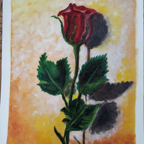 a rose , 9 x 13 inch, sayani sen,9x13inch,thick paper,paintings,flower paintings,modern art paintings,conceptual paintings,still life paintings,nature paintings | scenery paintings,abstract expressionism paintings,expressionism paintings,illustration paintings,impressionist paintings,minimalist paintings,photorealism paintings,photorealism,pop art paintings,realism paintings,surrealism paintings,contemporary paintings,realistic paintings,paintings for dining room,paintings for living room,paintings for bedroom,paintings for office,paintings for bathroom,paintings for kids room,paintings for hotel,paintings for kitchen,paintings for school,paintings for hospital,oil color,paper,GAL01036626748
