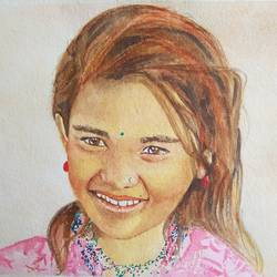 innocence, 22 x 15 inch, puja sharma bhatnagar,22x15inch,thick paper,paintings,portrait paintings,paintings for living room,watercolor,GAL01596726755