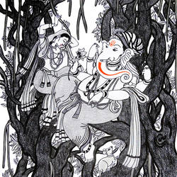 ganpati -celebration of life, 12 x 17 inch, sandeep handa,paintings for living room,ganesha paintings,illustration drawings,paper,mixed media,12x17inch,GAL010592676,vinayak,ekadanta,ganpati,lambodar,peace,devotion,religious,lord ganesha,lordganpati,ganpati,ganesha,lord ganesh,elephant god,religious,ganpati bappa morya,mouse,mushakraj,ladoo,sweets
