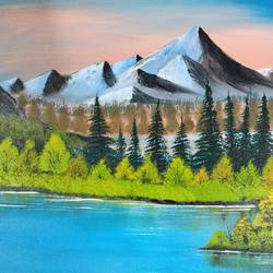 mountain lake, 18 x 14 inch, nidhi choudhari,18x14inch,canvas,paintings,landscape paintings,nature paintings | scenery paintings,paintings for hotel,acrylic color,GAL01583526763