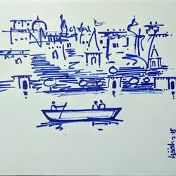 varanasi ghat, 11 x 8 inch, girish chandra vidyaratna,11x8inch,paper,drawings,fine art drawings,paintings for living room,ink color,GAL03626764