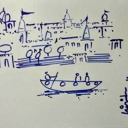 varanasi ghat, 11 x 8 inch, girish chandra vidyaratna,11x8inch,paper,drawings,fine art drawings,ink color,GAL03626765