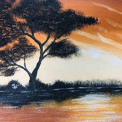 sunset, 12 x 10 inch, nidhi choudhari,12x10inch,canvas,paintings,nature paintings | scenery paintings,paintings for bedroom,paintings for hotel,acrylic color,GAL01583526769