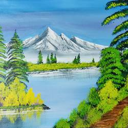 mountain lake painting, 20 x 16 inch, nidhi choudhari,20x16inch,canvas,paintings,landscape paintings,nature paintings | scenery paintings,paintings for bedroom,paintings for hotel,acrylic color,GAL01583526772