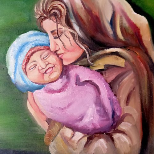 mother love, 20 x 16 inch, radha dangra,20x16inch,canvas,paintings,love paintings,paintings for living room,paintings for bedroom,oil color,GAL01600426773