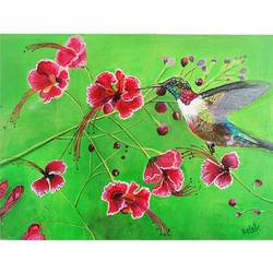 humming bird flying to flower, 12 x 16 inch, vgo cart,12x16inch,canvas,paintings,flower paintings,acrylic color,GAL01132726782