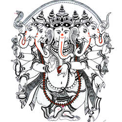 ganpati -panchmukha, 12 x 17 inch, sandeep handa,illustration drawings,paintings for living room,ganesha paintings,paper,mixed media,12x17inch,GAL010592679,vinayak,ekadanta,ganpati,lambodar,peace,devotion,religious,lord ganesha,lordganpati,ganpati,ganesha,lord ganesh,elephant god,religious,ganpati bappa morya,mouse,mushakraj,ladoo,sweets,panchmukh ganpati