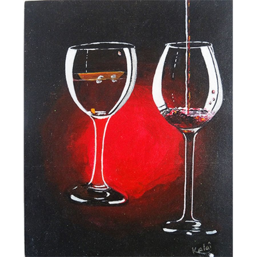 classic wine glass, 10 x 8 inch, vgo cart,10x8inch,canvas,paintings,art deco paintings,acrylic color,GAL01132726790