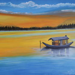 landscape lonely boat, 18 x 24 inch, promila  kaul,18x24inch,canvas,paintings,landscape paintings,acrylic color,GAL01596826791