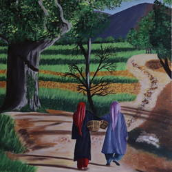 painting companionship, 18 x 24 inch, promila  kaul,18x24inch,canvas,paintings,nature paintings | scenery paintings,acrylic color,GAL01596826792