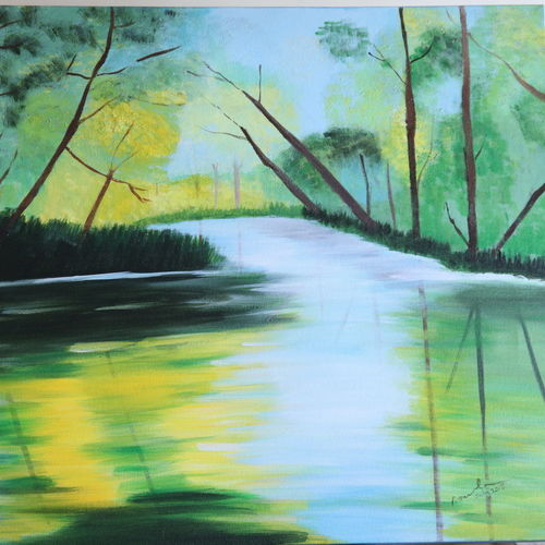 painting reflections, 24 x 30 inch, promila  kaul,24x30inch,canvas,paintings,nature paintings | scenery paintings,acrylic color,GAL01596826793