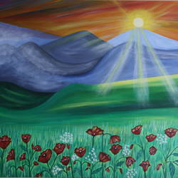 painting poppy wilderness, 24 x 36 inch, promila  kaul,24x36inch,canvas,paintings,nature paintings | scenery paintings,acrylic color,GAL01596826795