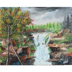 waterfall scenery, 8 x 10 inch, vgo cart,8x10inch,canvas,paintings,wildlife paintings,oil color,GAL01132726797