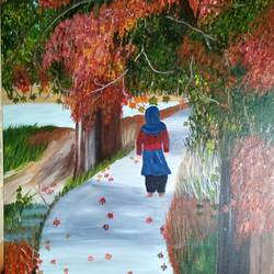 painting the  majestic chinar, 18 x 24 inch, promila  kaul,18x24inch,canvas,paintings,nature paintings   scenery paintings,acrylic color,GAL01596826798