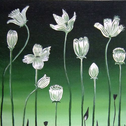 white flowers , 9 x 12 inch, aparna warade,flower paintings,paintings for office,canvas,oil,9x12inch,GAL089268