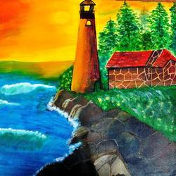 light house, 21 x 18 inch, sheetal dsilva,21x18inch,canvas,paintings,nature paintings | scenery paintings,paintings for dining room,paintings for living room,paintings for hotel,acrylic color,GAL0402926811