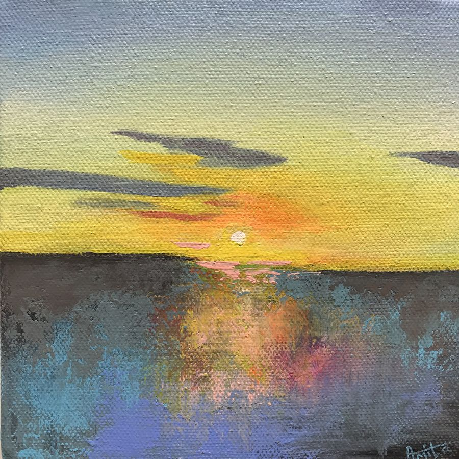 sunset painting, 6 x 6 inch, amita dand,6x6inch,canvas board,paintings,abstract paintings,landscape paintings,nature paintings | scenery paintings,paintings for dining room,paintings for living room,paintings for office,paintings for bathroom,paintings for hotel,paintings for school,paintings for hospital,acrylic color,GAL0146726822