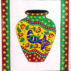 decorative vase, 11 x 15 inch, geeta kwatra,11x15inch,drawing paper,paintings,abstract paintings,art deco paintings,paintings for dining room,paintings for living room,paintings for office,paintings for hotel,mixed media,GAL0899126827