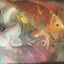 fishes, 12 x 18 inch, ranita sharma,12x18inch,wood board,paintings,modern art paintings,mixed media,GAL01370526834