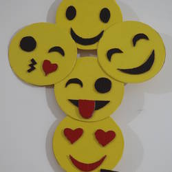 smiley wall hanging, 11 x 19 inch, t sangeeta reddy,11x19inch,thick paper,handicrafts,wall hangings,acrylic color,paper,GAL01599926839